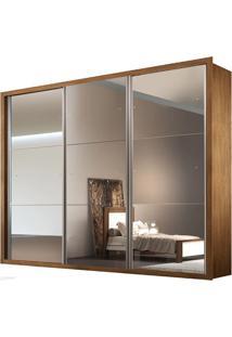 Guarda-Roupa Natal Com Espelho - 3 Portas - 100% Mdf - Imbuia