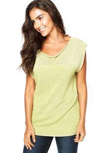 Blusa Cia De Moda Tricô Geneve Vintage Verde