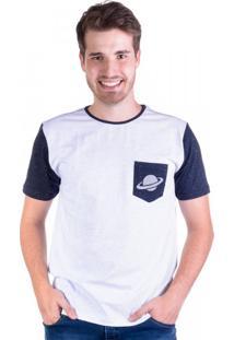 Camiseta Saturno Bolso Mescla Branco