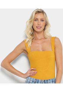 Body Farm Alcas Decote Costas - Feminino-Amarelo Claro