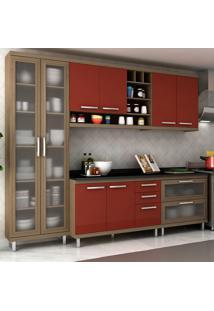 Cozinha Completa New Vitoria 15 Avelã Tx/Rubi - Hecol