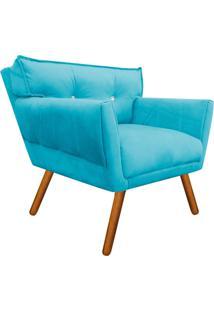 Poltrona Decorativa Anitta Suede Azul Tiffany Com Strass - D'Rossi