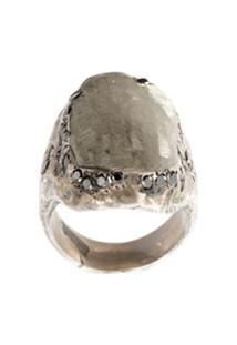 Tobias Wistisen Anel De Prata Com Diamante Negro - Cinza