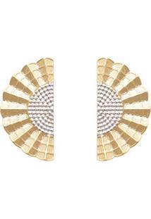 Brinco Prata Mil Leque Ondulado Estampado Reticulado Com Ródio 25Mm Ouro - Kanui