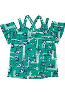 Blusa Verde Estampada Com Abertura
