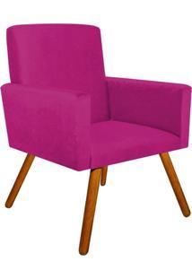Poltrona Decorativa Nina Suede Pink Com Encosto Alto Drossi