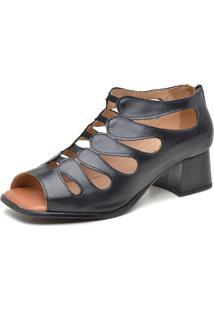 Sandália Retrô Salto Grosso Touro Boots Feminina Preto - Kanui