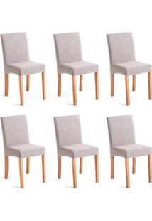 Conjunto Com 6 Cadeiras De Jantar Dora Ii Mescla E Castanho