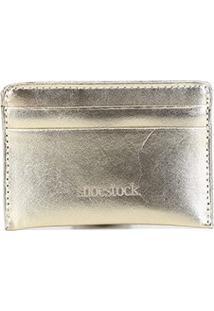Porta Cartão Couro Shoestock Mini Feminino - Feminino-Dourado