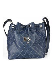 Bolsa De Couro Jasmine Azul