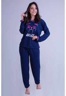 Pijama Malha Bravaa Modas Estampado Confortável Manga Longa 013 Azul Escuro
