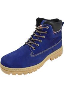 Bota Coturno Atron Shoes Cano Baixo Couro Azul