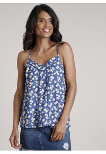Regata Feminina Estampada Floral Com Entremeio Alça Fina Decote V Azul