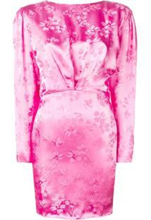 Attico Vestido Floral Com Abertura Posterior - Rosa