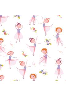 Papel De Parede Bailarina E Flores Quarto De Menina 57X270Cm - Tricae