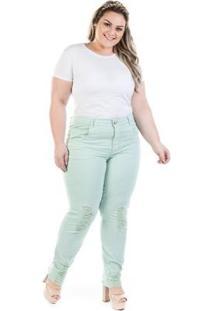 Calça Jeans Cigarrete Color Destroyed Plus Size Feminina - Feminino-Verde