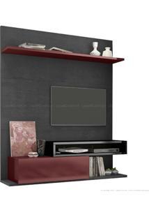 Estante Home Theater Para Tv Até 60 Polegadas 1 Porta Basculante Qn795 100% Mdf 150 X 180 X 40 Preto Silk/Bordô/Preta - Quiditá