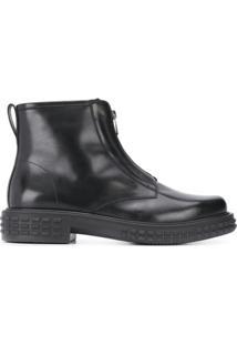 Salvatore Ferragamo Ankle Boot Com Spikes No Solado - Preto