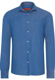 Camisa Masculina Jeans Maquinetada - Azul