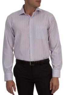 Camisa Social Masculina Lilás Listrada - 2