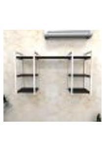 Estante Industrial Escritório Aço Cor Branco 120X30X68Cm (C)X(L)X(A) Cor Mdf Preto Modelo Ind29Pes