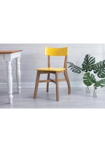 Cadeira Para Sala De Jantar Bella - Amêndoa E Amarelo 44X51X82 Cm