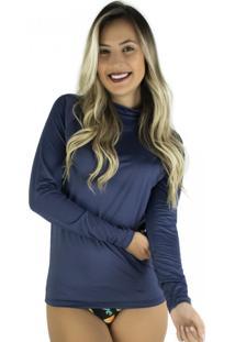 Camisa Mvb Modas Térmica Segunda Pele Proteção Uv 50 Azul