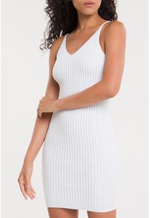 Vestido De Tricot Com Decote V - Off White - P