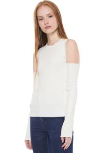 Blusa Tricot Calvin Klein Jeans Off Shoulder Off-White