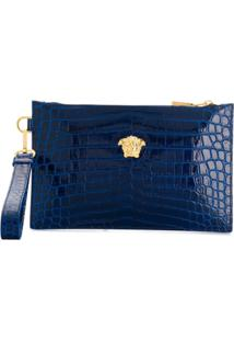 Versace Medusa Appliqué Leather Pouch - Azul