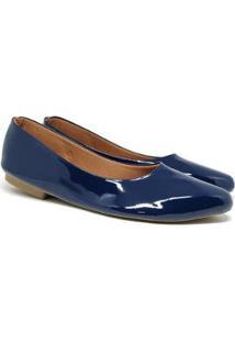 Sapatilhas Bico Fino Verniz Casual Todo Glamour Feminina - Feminino-Azul