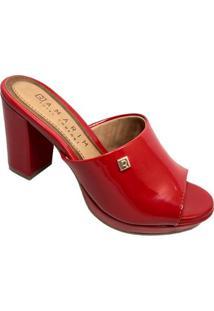 Tamanco Ramarim Verniz Logo Salto Grosso - Feminino-Vermelho