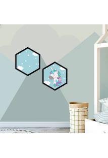 Kit 2 Quadros Com Moldura Hexagonal Cute Unicorn