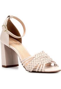 Sandália Shoestock Salto Grosso Handmade Feminina - Feminino-Off White