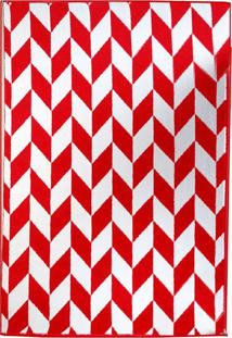 Tapete Andino Geométrico Iii Retangular Polipropileno (65X40) Vermelho