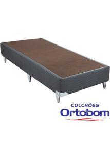Box Solteiro - Camurça Cinza - Ortobom - 88X188X23