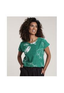 Blusa Feminina Estampada De Caju Manga Curta Decote Redondo Verde