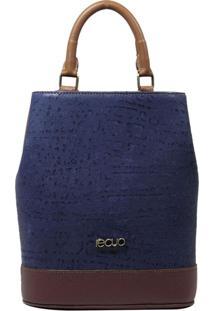 Bolsa Mochila De Couro Recuo Fashion Bag Azul/Caramelo/Vinho