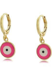 Brinco Argolinha Olho Grego Rosa Pink Banho Em Ouro