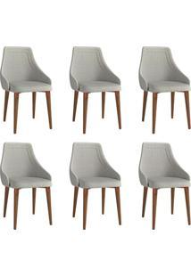 Conjunto Com 6 Cadeiras De Jantar Evelyn Cinza