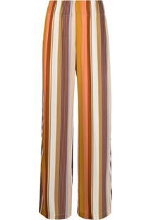 Aspesi Calça Pantalona Com Padronagem De Listras - Laranja