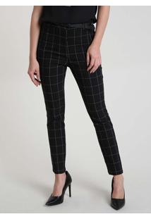 Calça Feminina Básica Skinny Cintura Alta Estampada Quadriculada Com Cinto Preta