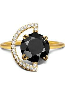 Anel Ouro Amarelo Quartzo Negro E Diamantes Menor