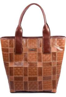 Bolsa Couro Griffazzi Shopping Bag Pinhao Feminina - Feminino-Ouro