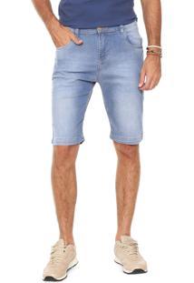 Bermuda Jeans Rock Blue Reta Estonada Azul