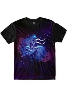 Camiseta Bsc Signos Ilustração Aquário Sublimada Roxo - Masculino