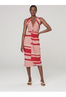 Vestido Midi Com Transpasse - Vermelho