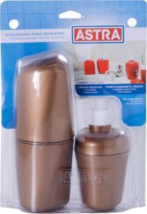 Kit Acessórios Para Banheiro Plástico 2 Peças Astra Bronze