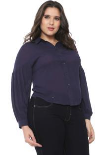 Camisa Fiya Lady Plus Recorte Azul-Marinho