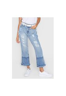 Calça Cropped Jeans My Favorite Thing(S) Reta Destroyed Azul